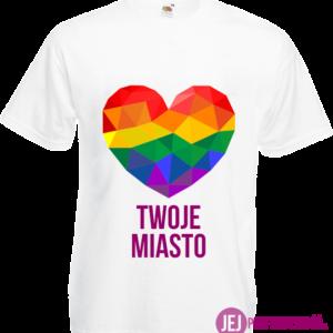 Koszulka: Tęczowe Serce + Twoje Miasto